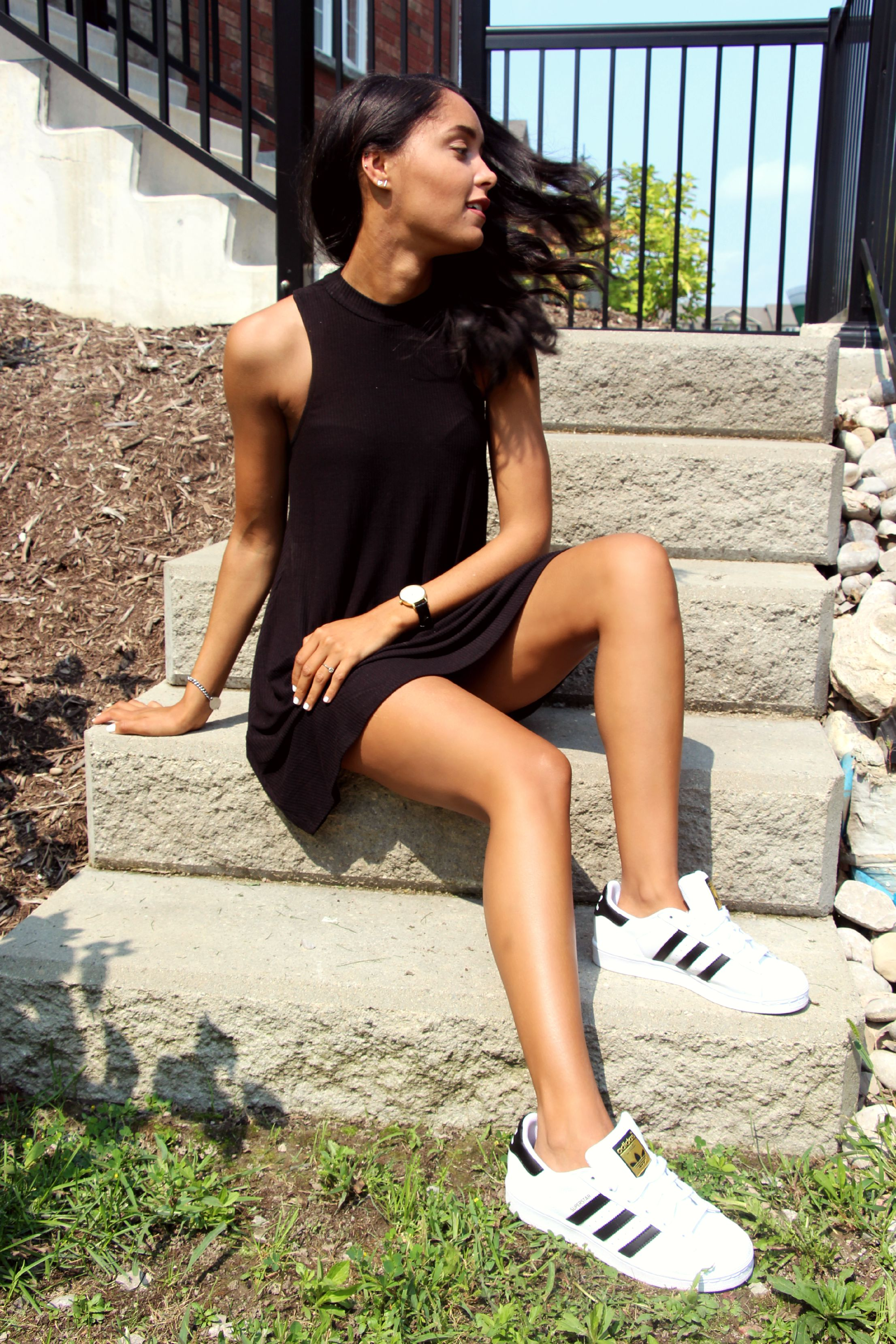 Black dress with adidas shoes - Dress Asos Shoes Adidas Watch Kate Spade